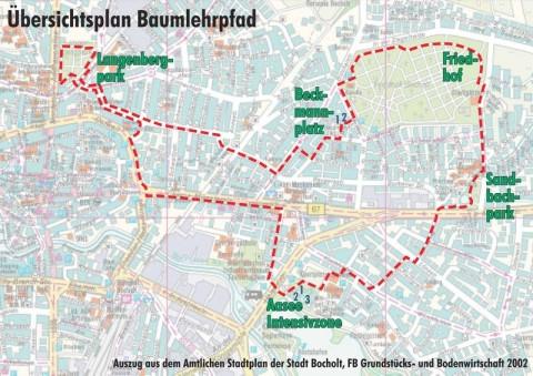 Baumlehrpfad Übersichtsplan, Bocholter Radtour, Bocholt